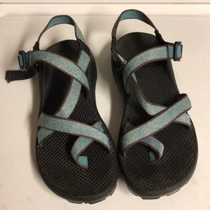 Chaco sandals blue/white/brown straps; good used